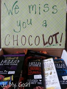 Chocolate Lover's Care Package - Jo, My Gosh! Missionary Care Packages, Deployment Care Packages, College Care Packages, Military Care Packages, College Care Package For Girls, Camp Care Packages, Missionary Gifts, Diy Birthday, Birthday Gifts