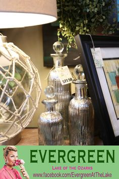 mercury glass bottles with glass stops / silver bottles / home decor / accessories / shopping Lake of the Ozarks / 65065 / Evergreen at the Lake