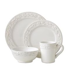 The Pfaltzgraff everyday country cupboard dinnerware set features an antiqued white base complemented by embossed rim and border accents.  sc 1 st  Pinterest & Dillards Cremieux Provence Dinnerware 16 place settings u003d $416 $26 ...