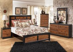Two Toned Bedroom Set gives an Autumn feel to any bedroom. Aimwell Queen Panel Bed, Dresser
