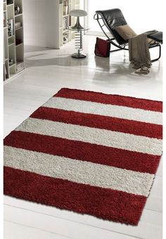 GRAPHIC RED & WHITE STRIPES RUG