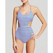 Zinke Blue Stripe Andi Monokini One Piece Swimsuit