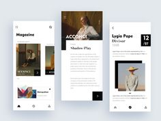 magazine app designed by Michelle for Fireart Studio. Connect with them on Dribbble; the global community for designers and creative professionals. Graphisches Design, App Ui Design, Interface Design, Graphic Design, Portfolio Cover Design, Fashion Website Design, Mobile Web Design, Magazine Layout Design, Ui Web