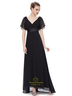Black V Neck Chiffon Long Bridesmaid Dress With Flutter Sleeves | Vampal Dresses
