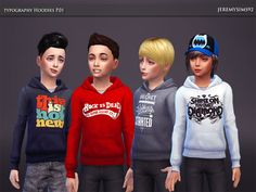 Typography Hoodies P.01 by jeremy-sims92 at TSR via Sims 4 Updates