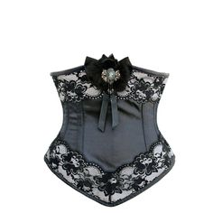 Black Underbust with Cameo Brooch