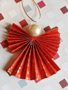 Origami Christmas Angel Decoration in Red and Gold
