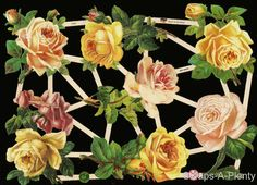 German Victorian Style  Embossed Scrap Die Cut - Flowers Yellow Roses    EF7346