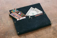 If you don't sew or don't want to... this is a good project.  Good picture step y step and how to. Always Rooney: No Sew Clutch Wallet | DIY