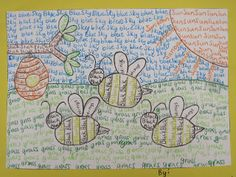 "Holly V, elementary Art teacher says, ""Calligrams are a type of poem where words or phrases are arranged to make a visual image. For this project... students draw an animal and a background. Instead of coloring it in...had the students color with words. that relate to the object. They could use single words, or full sentences."" 5th grade: colored pencils or markers."