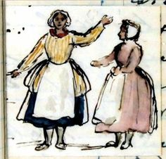 Scottish fisherwomen: pen and ink sketch with watercolor by Queen Victoria, Saturday 3rd September 1842