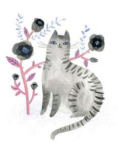 sarah walsh ༺ illustration chat gris aquarelle