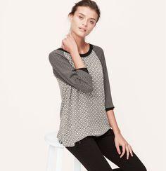 Petite Mixed Mosaic Woven Sweatshirt | Loft