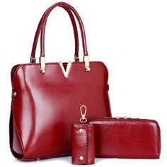 2017 Brand Solid Color Purses+Shoulder +Handbag 3 PCS Set Luxury V Women  Designer Handbags High Quality Sac A Main Composite Bag 85a74c08a85c1
