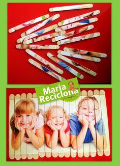 ** Maria Reciclona **: Brinquedo reciclado Popsicle Stick Crafts, Popsicle Sticks, Craft Stick Crafts, Crafts For Kids, Games For Kids, Diy For Kids, Activities For Kids, Photo Projects, Projects For Kids