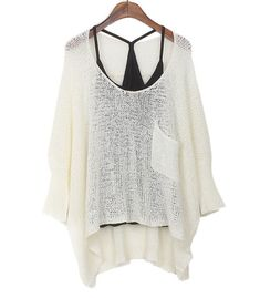 """Material:Knitted cotton  Colors: Apricot/White/Black  Size: One size  Size:Bust:154CM/60.6""""Length:61-75CM/24-29.5""""  Sleeve: 51CM/ 20.1""""  Hem:134CM/52.8""""         Loose bat sleeve, partial long section of a sweater, fashion, trends. Hollow thin designs, irregular hem, casual, super lo..."""