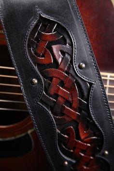"Leather Guitar Strap: black leather guitar strap, ""Celtic Crimson Guitar Strap"". $225.00, via Etsy."