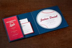 Arabella Papers Custom Bar Bat Mitzvah Invitation. Baseball inspired invitation with navy paper, red stitching, and a brand new vertical pocket folder complete with monogram pattern.