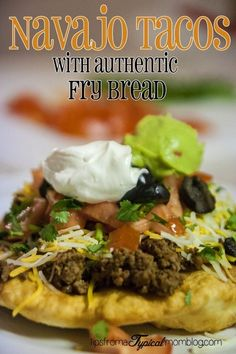 Navajo Taco& with Authentic Fry Bread Recipe from Tips From a Typical Mom. A perfect weeknight dinner with the family. Get the kids in the kitchen helping with the bread. Easy Fry Bread Recipe, Fried Bread Recipe, Beef Recipes, Mexican Food Recipes, Dinner Recipes, Cooking Recipes, Ethnic Recipes, Dinner Ideas, Orange
