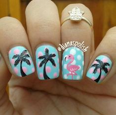 cool Pink flamingo nail art...
