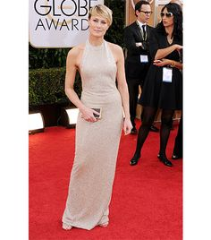 @Who What Wear - WHO: Robin Wright WHAT: Winner for Best Performance by an Actress in a Television Series Drama for House of Cards. WEAR: Reem Acra dress; Dana Rebecca Designs Lauren Joy 14K yellow gold with white diamond earrings; Jimmy Choo Tiga sandals.