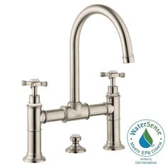 Hansgrohe Axor Montreux 8 in. Widespread 2-Handle Mid-Arc Bathroom Faucet in Brushed Nickel with Cross Handles-16510821 - The Home Depot