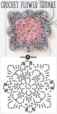diagram and image crochet pattern flower square by creJJtion ~free crochet patterns~ ༺✿Teresa Restegui http://www.pinterest.com/teretegui/✿༻