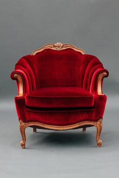 Eclectic Furniture, Funky Furniture, Unique Furniture, Vintage Furniture, Antique Chairs, Vintage Chairs, Red Velvet Chair, Chair Photography, Velvet Furniture