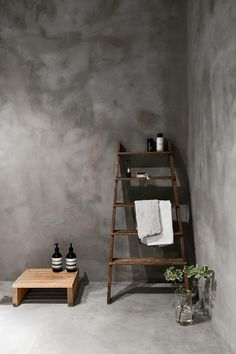 This all concrete bathroom decorated with wooden details really hits the spot. Actually the entire home is concrete, but I like this look the most in the bathroom. Concrete Bedroom, Concrete Wall, Bedroom Wall, Bedroom Decor, Living Room Decor, Home Decor Store, Cheap Home Decor, Manufactured Home Remodel, Interior Minimalista