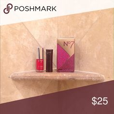"""No. 7 Cosmetics Beauty Box New No. 7 Cosmetics Little Box of Beauty in shade """"Pillar box"""". Received as gift. Includes beautiful vibrant red gel finish nail polish and moisture drench Lipstick in matching classic red shade """"Pillarbox"""". 2 Full Sized items valued at over $50!  ______ Tags: sephora, cosmetics, urban decay, lancome, Mac, Estee lauder, anastasia, NARS, too faced, makeup forever, nyx No. 7 Cosmetics  Makeup Lipstick"""