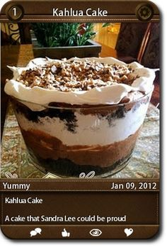 Kahlua Cake A cake that Sandra Lee could be proud of. ...