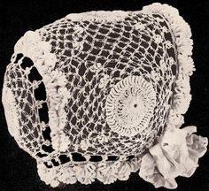 Vintage Irish Baby Cap Hat Bonnet Crochet Pattern MedallionBB