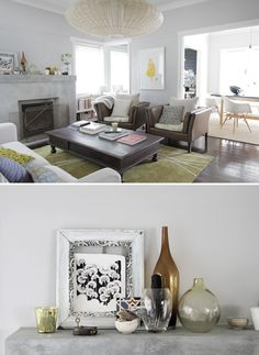 Love the green rug with otherwise muted palette