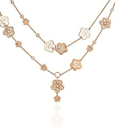 Boodles' Blossom collection ~ Rose gold necklace set with round-brilliant cut diamonds