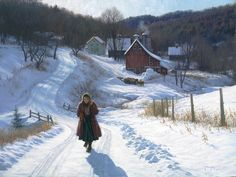 ROBERT DUNCAN DECEMBER SUNSHINE oil on canvas 30 x 40 in (76.2h x 101.6w cm) $14,400   This is a scene in a beautiful little Vermont valley I visit every once in awhile. My friends barn is just in the background. I always feel like it is a scene from a world all it's own, so beautiful and at peace. With the light of the sun and the beauty all around, you almost forget it's cold.  Robert Duncan, 2015  @ Trailside Galleries www.trailsidegalleries.com