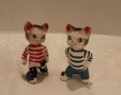 Vintage Alley Cats Salt and Pepper Shakers by vintagekitchenhome Vintage Cat, Vintage Stuff, Baby Acne, Disney Cats, Alley Cat, Red Stripes, Salt And Pepper, Cool Cats, Cats And Kittens