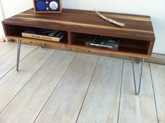 Mid Century Modern Coffee Table, Black Walnut With Hairpin Legs