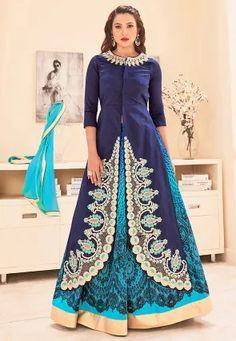 Embroidered Art Silk Jacket Style Lehenga in Indigo Blue