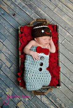 Gingerbread Man Cocoon and Hat set.  Newborn by YarningToBe, $60.00