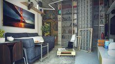 salon contemporain aménagé avec un canapé gris graphite et une petite table base en bois à roulettes