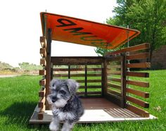 recycled parts dog house-street sign Cat House Diy, Silly Dogs, Mini Dogs, Pet Dogs, Doggies, Outdoor Dog, Diy Stuffed Animals, Dog Houses, Dog Art