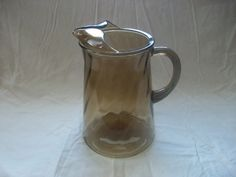 Vintage Smoke Glass Pitcher w/ Swirl Design, Juice Beverage Pitcher with Handle and Pour Spout, Brown Glass Carafe Container