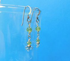 Unique Earrings For Girlfriend Gift, Unique Simple Earrings, Handmade Earrings, Peridot Earrings, Wire Earrings, Unique Gem Earrings for Her