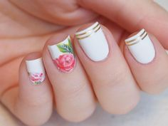 Large peony rose nail water decals