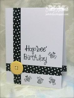 handmade birthday card ... one layer ... black and white with a pop of yellow ... Bee thememe ... washi tape lines crossing at the corner ...