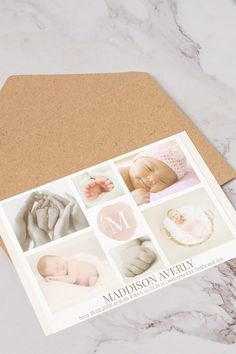 Announce the arrival of your newborn baby girl with a stylish 6 photos collage, decorated with a monogram on pink watercolor background in the middle and customizable baby name and birth stats at the bottom. The background is a pink watercolor wash. If you need help personalizing this birth announcement drop us a line here at the messenger.