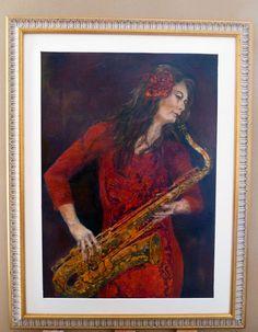 saxofoniste in rood door Renate v. Dongen