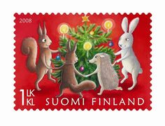 Finland - class Stamp of Finland, created by Julia Vuori, shows forest animals gathered together around a Christmas tree for a round game. Illustration Noel, Christmas Illustration, Illustrations, Noel Christmas, Christmas Photos, Xmas, Vintage Christmas, Kitsch, Dancing Animals