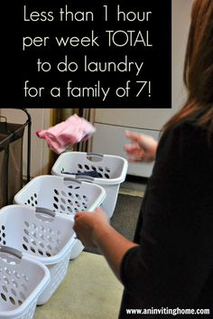 I'm inspired to refine our laundry routine!less than 1 hour per week total to do laundry for a family of 7 -An Inviting Home Diy Cleaning Products, Cleaning Solutions, Cleaning Hacks, Laundry Solutions, Weekly Cleaning, Doing Laundry, Laundry Hacks, Small Laundry, Casa Clean