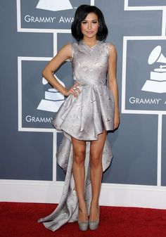 Naya Rivera donned gray leather platform pumps to complement her matching Grammy gown.